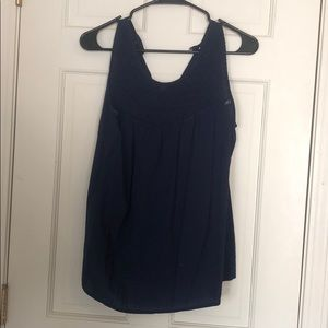 Navy Blue Lace Front Tank Top
